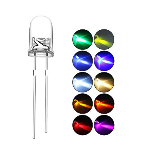 DiCUNO 100pcs(10 Couleurs x 10pcs) 5mm Bi-pin LED Diode, Tête ronde transparente, Haute luminosité lampe LED,(Blanc/Rouge/Jaune/Vert/Bleu/Rose/Orange/Blanc chaud/UV/Chartreuse)