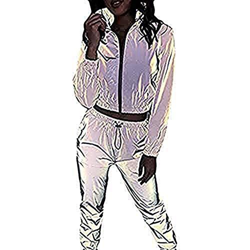 Mxjeeio Chándal Sexy Reflectante para Mujer Invierno otoño Casual Manga Larga Versión Nocturna Cremallera...