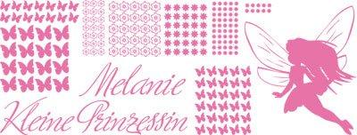 Wandtattoo Wandaufkleber Tattoo für Kinderzimmer Wunschnamen kleine Prinzessin (150x57cm//045 hellrosa) (Pferd Fliese Wandbild)