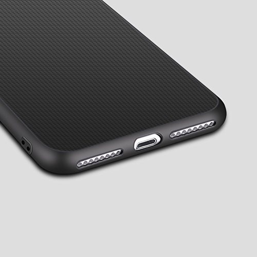 Qingsun Coque de Protection Silicone Ultra Fine en Gel TPU Flexible et Souple Etui Housse pour Iphone 7Plus, Noir Bleu Fonce