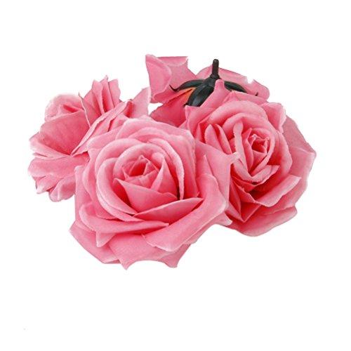 ROSENICE 20pcs Kunstblumen Rose Blume Köpfe Handwerk Haus Hochzeit Party Dekoration (rosa)