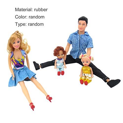 Heaviesk 4 Stücke Baby Dolls Vater + Mutter + 2 Kinder Dress Up Kit Kinderspielzeug Kinderspielzeug 4 Personen Familie Puppen Anzug Abnehmbare Gelenke (Familie Dress Up)