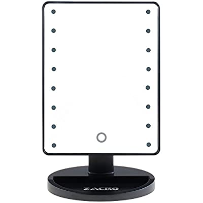 Zacro LED Illuminated Cosmetic Mirror - 16 Light Bulbs Table Top Vanity Makeup Mirror with 4 x Batteries - Lighted Make Up Mirror Beauty Mirror for Tabletop, Bathroom, Bedroom, Travel, Shaving, Dressing (Black) produced by Zacro - quick delivery from UK.