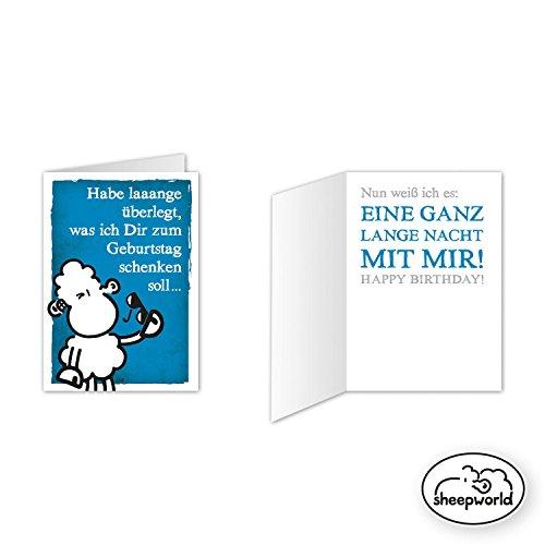 Sheepworld - Mini-Klappkarte, Geburtstagskarte 'Habe laaange überlegt, was ich Dir zum Geburtstag schenken soll ... Nun weiß ich es: Eine ganz lange Nacht mit mir!' (80517-Nr. 17)