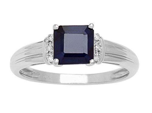 10k Weißgold Kissen-Schnitt Echter Saphir und Diamant Ring Akzent Ring -