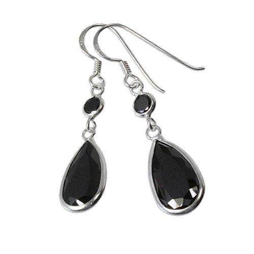 SilberDream Damen-Ohrhänger 925 Sterling Silber Tropfen Zirkonia schwarz SDO8601S