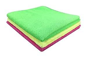 SOFTSPUN Microfiber Cloth - 3 pcs - 40x40 cms - 340 GSM Multi Colors - Thick Lint & Streak-Free Multipurpose Cloths - Automotive Microfibre Towels for Car Bike Cleaning Polishing Washing & Detailing