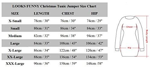 LOOKS FUNNY Premium Lustig Lange Weihnachtspullover Weihnachtspulli Long Pullis Strickpullover im Tunika-Stil für Damen mit weihnachtlichen Motiven, XS - XXXL Mehrfarbig-03