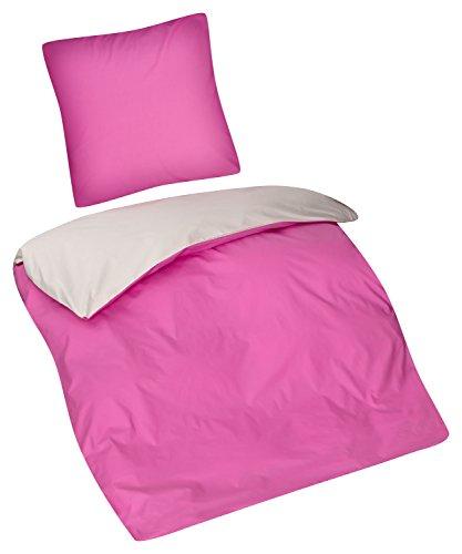 Aminata Kids Wende-Bettwäsche-Set 135-x-200 cm pink-e rosa Normal-Größe Einzel-Bett-Decke Reißverschluss Oeko-Tex 2-teilig