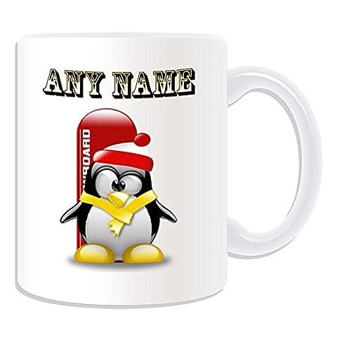 Personalisiertes Geschenk–Snowboard–# 1Tasse (Pinguin in Kostüm Design Thema, weiß)–alle Nachricht/Name auf Ihre einzigartige–Boarding Extreme Sport Skateboard Winter (Olympic Sport Kostüme)
