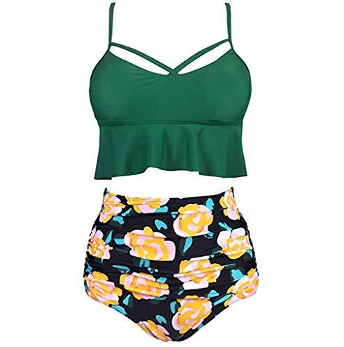 Dasongff Damen Zweiteilige Badeanzüge Ruffled Top Hoch Tailliert Bottom Bikini Set Strandurlaub Bademode Sexy Weste Oberteil Shortszweiteiliger Hipster -