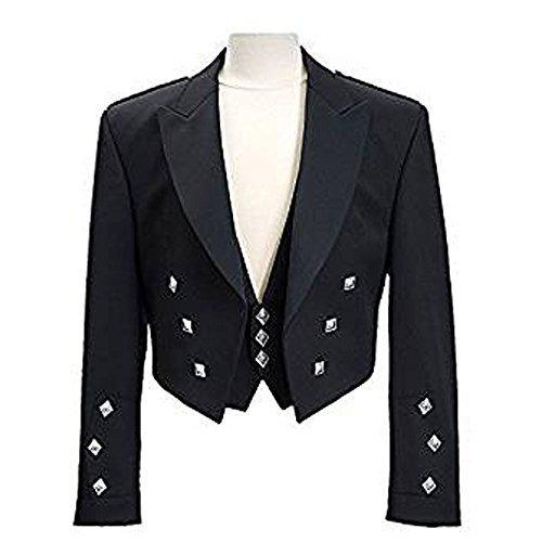 Star Leather Neu Jungen & Herren Schottisch Prinz Charlie Kilt Jacke & Weste Hochzeit/Party (alle Größen) - Schwarz, 38 Regular (Leather Star)
