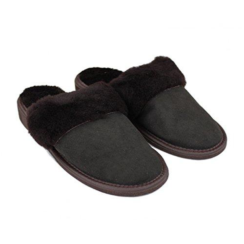 Warme Pantoffeln Lammfell Hausschuhe Damen Leder Latschen Winter Lammfellschuhe mit Gummisohle Braun