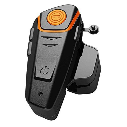 Qiilu QL1000-OG BT-S2 1000m Versione Aggiornata Auricolare Bluetooth Impermeabile BT Casco da Moto Interphone Auricolare e Audio da 2.5 mm per Walkie Talkie GPS Mani Libere MP3 Player FM Radio 2.5 Mm Mp3 Stereo