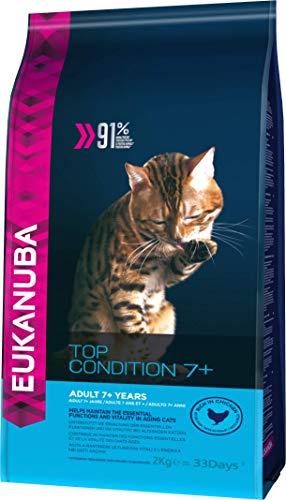 Eukanuba Katze Senior 7+ Jahre, Premium Trockenfutter speziell auf die Bedürfnisse älterer Katzen abgestimmt 2Kg