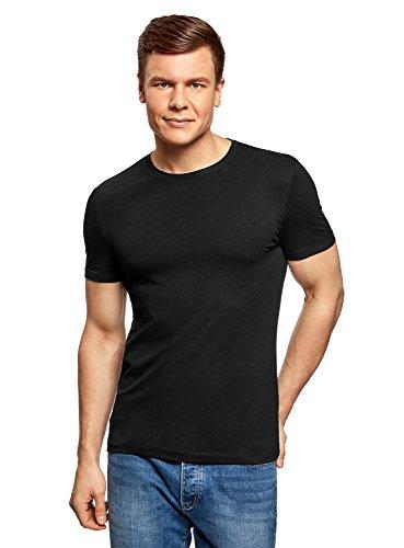 oodji Ultra Herren Tagless T-Shirt Basic Aus Baumwolle, Schwarz, DE 44/XS (T-shirt Rundhalsausschnitt Tagless)
