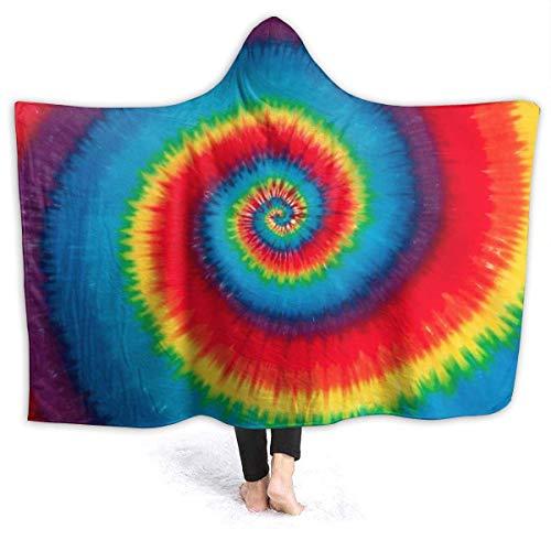 """XXWK Kuscheldecken Überwürfe Decken Hooded Blankets Tie Dye Pattern Printed Super Soft Sherpal Plush Wearable Throw Blanket Black 80\""""x60\"""" Inch Lightweight"""