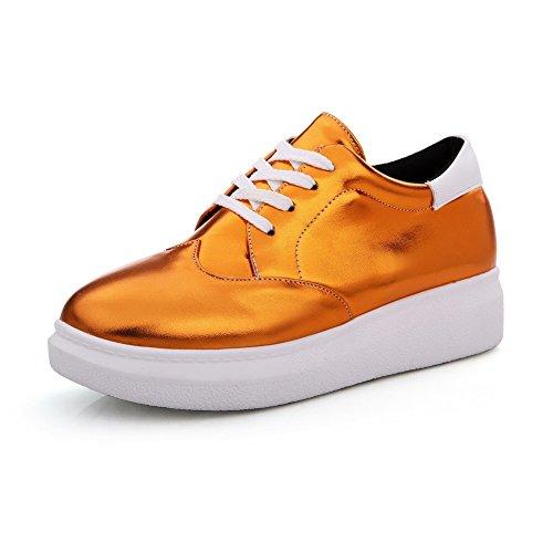 VogueZone009 Femme Lacet Rond à Talon Bas Couleur Unie Chaussures Légeres Orange