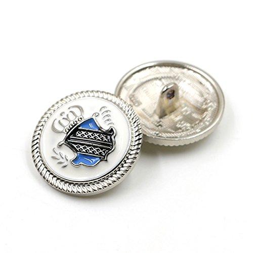 Metallknöpfe mit britischer Krone für Freizeitanzüge, Jacken und Mäntel, gold und schwarz, 10 Stück, Nähzubehör zum Selbernähen, silber, 25 mm (Antique Blazer)