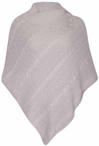 Lavorato a maglia lunga donna Cape antisguardi pieghe roll colletto pottone Poncho taglia unica Steinfarben