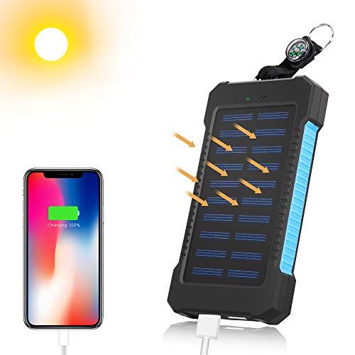 Mibote, caricabatterie a energia solare, da 10000 mah, con porta usb, indicatore di stato a led e torcia led ip65, impermeabile, resistente agli urti e alla polvere