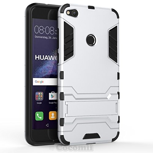 Huawei p8 lite 2017 custodia, cocomii iron man armor new [heavy duty] premium tactical grip kickstand shockproof hard bumper shell [military defender] full body dual layer rugged cover case paraurti (silver)
