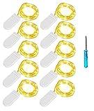 Lichterkette 10er 2M 20LEDs Micro Lichterkette Drahtlichterkette Batterie-betrieben Silberdraht Warmweiß Wasserdicht LED String Fairy Light Batterie Lichterkette für Innen Außen Party Weihnachtendeko