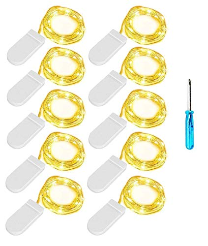 Lichterkette 10 Stück LED Micro Lichterkette Drahtlichterkette Batterie-betrieben Silberdraht Warmweiß 2M 20LEDs Wasserdicht String Fairy Light Batterie Lichterkette für für Innen- und Außendekoration