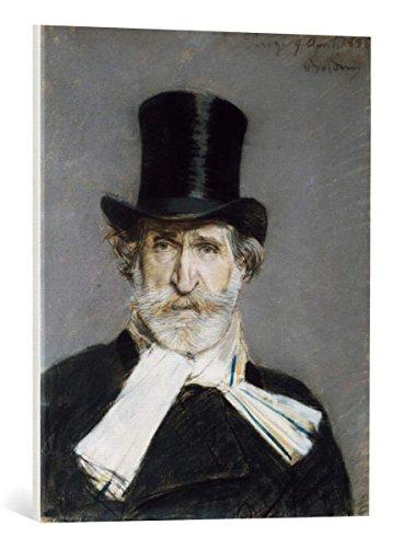 """Quadro su tela: Giovanni Boldini """"Verdi / Portrait by Boldini / 1886"""" - stampa artistica di alta qualità, tela con intelaiatura in legno, quadro pronto per essere appeso, 55x70 cm"""