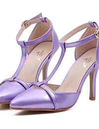ZQ Zapatos de mujer-Tac¨®n Stiletto-Tacones-Tacones-Fiesta y Noche-Semicuero-Rosa / Morado , purple-us7.5 / eu38 / uk5.5 / cn38 , purple-us7.5 / eu38 / uk5.5 / cn38
