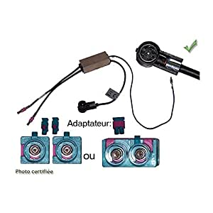 ADAPTATEUR D ANTENNE AMPLIFIE DOUBLE FAKRA ISO MALE AUDI VW SEAT MERCEDES