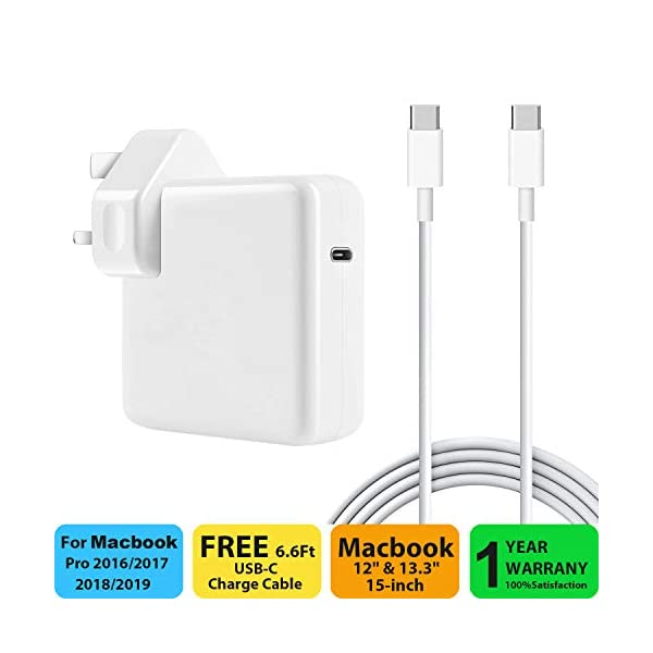 """87W USB C Power Adapter Compatible with Macbook Pro / Air Charger , Works With USB-C 87W 61W & 30W Power Delivery Fast Charging Compatible with Macbook Pro 13"""" 15"""" 2016Late MacBook Air 2018Late 41deki2NeBL"""