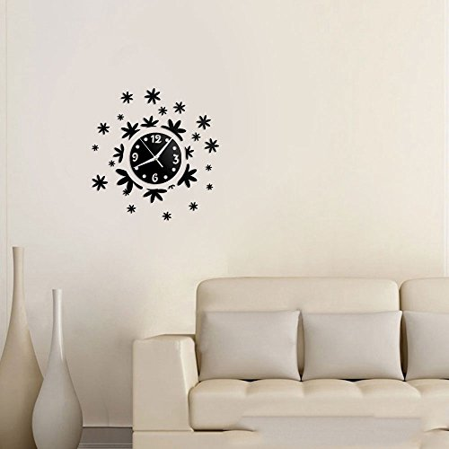 Vetrineinrete® orologio a parete adesivo sticker componibile tridimensionale 3d nero moderno decorazione murales fiori floreale 0525b