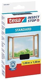tesa Insect Stop STANDARD Fliegengitter für Fenster - Insektenschutz zuschneidbar - Mückenschutz ohne Bohren - Fliegen Netz anthrazit, 100 cm x 100 cm