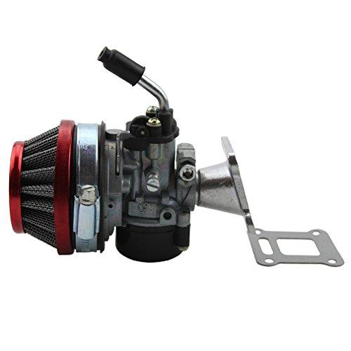 GOOFIT Tuning Vergaser mit Luftfilter Gruppe für 47cc 49cc Mini Pocket Bike Mini Cross Rot