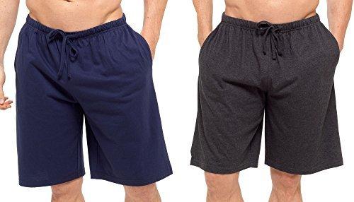 Hombres Pack Doble Salón Pantalones Cortos Jersey Elástico Noche Ropa Pijamas Pj inferiores