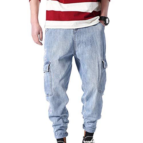 Sconosciuto Pantaloni per Il Tempo Libero da Uomo Street Wear Tute Primavera-Estate Pantaloni Ampi Non Lavati Lavati con Tasche Larghe