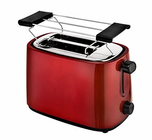 Efbe-Schott 2-Scheiben-Toaster, Separater Brötchenaufsatz, Integrierte Krümelschublade, 750 W, Metallic-Rot, SC TO 1060 R