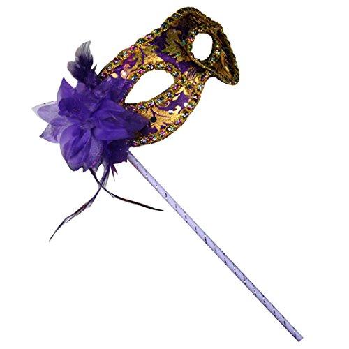 sarahbridal Elegante Masquerade Party facemasks Gold Blume venezianischen Halloween Ball Prinzessin Augenmaske mit Handheld Stick (Maske Myers Alle Michael)