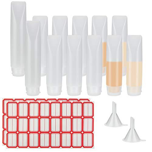 BUZIFU Transparente Reiseflaschen, 10er Travel Boats 30ml und 2 Reiseflaschen à 50ml mit 2 Mini-Trichtern und 48 Klebeetiketten zu füllen und zu identifizieren, Creme/Shampoo/Kosmetik und mehr