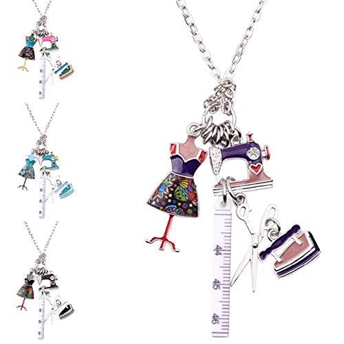 Mode Kette bunt Emaille Näherin Schneiderin Nähmaschine Schneiderpuppe nähen Hobby Weihnachtsgeschenk
