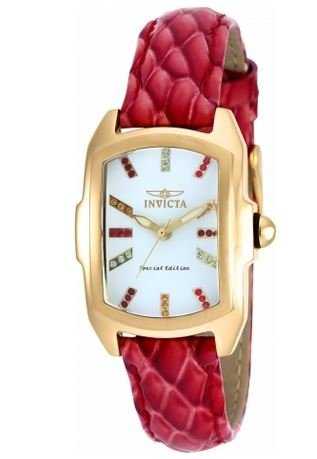 INVICTA WOMEN'S LUPAH RED LEATHER BAND STEEL CASE SWISS QUARTZ WATCH 19944