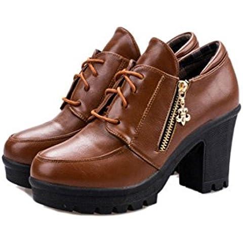 SHIXR Se?oras nuevo salvaje rugosa antideslizante zapatos moda tacones botas , brown , 38