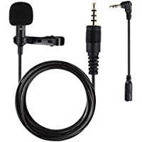 Micrófono de Solapa para telefono, Gyvazla Mini Omnidireccional Micrófono de condensador con adaptadore para Phone & Android Smartphones, 3.5mm Audio Jack