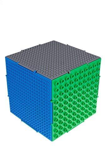 Strictly Briks - The Cube - 6 Bases de Doble Cara (Tacos Grandes y pequeños) interconectadas - Compatible con Todas Las Grandes Marcas - 16,51 x 16,51 x 16,51 cm - Azul, Gris, Verde