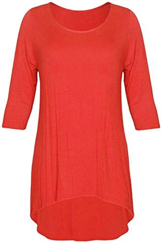 Nouveau Femmes Plus Size Dip inégale ourlet Tunique Tops 42-56 Rust