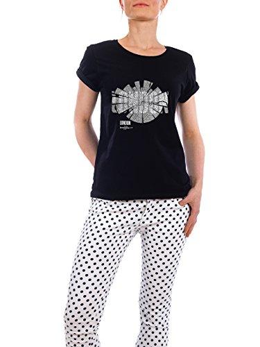 """Design T-Shirt Frauen Earth Positive """"London dark"""" - stylisches Shirt Abstrakt Städte Kartografie Reise Architektur von ShirtUrbanization Schwarz"""