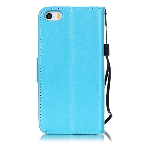 Coque Etui pour iPhone SE / 5 / 5S,iPhone SE / 5 / 5S Lanyard Strap Coque Dragonne Carrying téléphone Etui,Cozy Hut Elegant Slim [Papillon Fleur Gaufré] Crystal Diamond Flip Case Leather Wallet Housse bleu