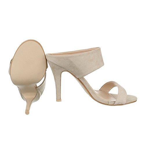 High Heel Sandaletten Damenschuhe Plateau Pfennig-/Stilettoabsatz High Heel Ital-Design Sandalen / Sandaletten Beige