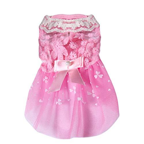 Rosennie_Haustiere Kleid für Hunde Prinzessin Dress Haustier Hund Spitze Kleid Sommer Minikleider Bogen Drucken Partykleider Haustier Katze Kleid Elegante Hunde Bekleidung - Bogen Panty